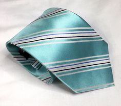 Jones New York Silk Necktie Light Teal Striped 60.5 by 3.5 Inches New with Tag #JonesNewYork #Tie
