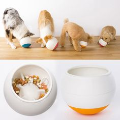 This unique pet feeding ball from Japan moves around while a dog eats causing it to fall to the center around notched sections that force them to forage and work to get at.