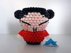 Origami 3D - Pucca Bear Origami, Origami And Kirigami, Oragami, Fun Crafts, Diy And Crafts, Paper Crafts, Samurai, Graduation Bear, Origami Modular