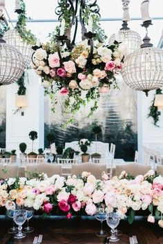 Love the colors and style.. With more white. 105 Greenery And Floral Chandeliers For Your Wedding | HappyWedd.com