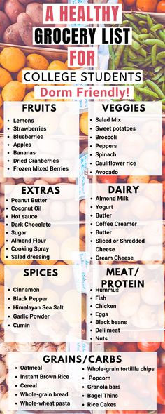 A Healthy Grocery List For College Students - Her Little Corner - Being Healthy. - A Healthy Grocery List For College Students – Her Little Corner – Being Healthy in College (Me - College Grocery List, Clean Eating Grocery List, Shopping List Grocery, Grocery Haul, Grocery List Healthy, Healthy Shopping Lists, Meal Prep Grocery List, Easy Recipes For College Students, Healthy Food List