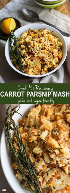 Crock Pot Rosemary Carrot Parsnip Mash. A healthy paleo gluten free side dish for your holiday table! Made simple and easy in the crock pot with real ingredients you have in your pantry! No stress and no mess. Vegan friendly. /cottercrunch/: