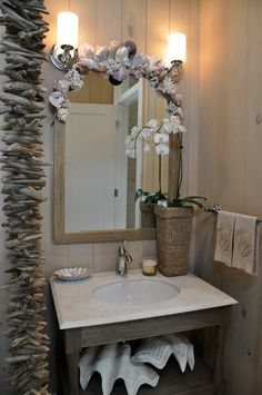 I would love to do something like this for our beach bathroom!