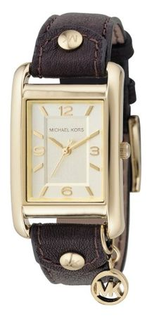 Michael Kors Watches Michael Kors Ladies Leather Rectangle with Charm (Brown): Amazon.com: Home & Kitchen