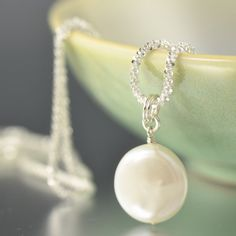 White Coin freshwater pearl sterling silver by southpawstudios, $52.00