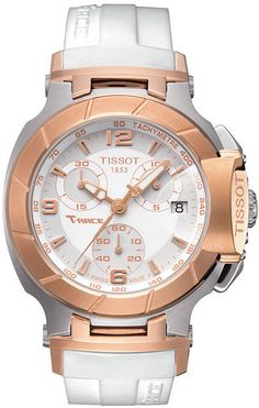 Tissot Watch, Women's Swiss Chronograph T-Race White Rubber Strap T0482172701700 on shopstyle.com