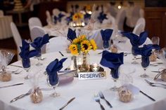 Handmade Sunflower Bouquets and a Navy Blue & Yellow Color Palatte...a Perfectly Happy Ohio Wedding - Fab You Bliss