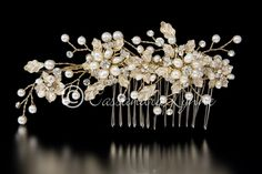 Gold Bridal Hair Comb With Holly Leaves and Pearls from Cassandra Lynne