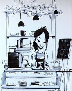 #ink #inktober #inktober2016 #drawing #KurtChangArt #art #illustration #lighting #coffee #coffeehouse