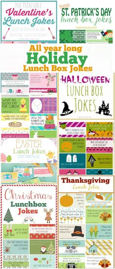 Holiday lunch box jokes from Valentine's day to Easter, St Patricks Day, Halloween, Thanksgiving, and Christmas Thanksgiving Jokes, Thanksgiving Preschool, Lunch Box Notes, School Lunch Box, Jokes For Kids, Kid Jokes, Clean Jokes, Preschool Snacks, Kids Corner