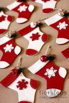 Christmas Felt Stockings - Red and White