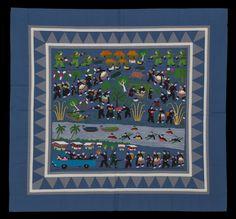 Hmong war story cloth (Crossing the Mekong). Made in Ban Vinai, Thailand, circa 1991.
