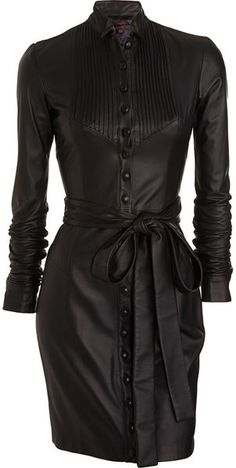 Leather Shirt Dress - Lyst  - I think this is the sexiest thing i've seen in a while!