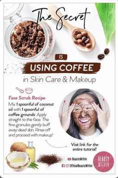 Source: BeautyWithIn | #wittyvows #bridetobe #coffee #mask #maskcarabeauty #skincareproducts #skincare #skincareroutine #skincaretips #skincareproducts #potd #trending #fashion Face Skin Care, Diy Skin Care, Skin Care Tips, Skin Tips, Peeling Maske, Coffee Face Mask, Uses For Coffee Grounds, Coffee Grounds Beauty, Anti Ride