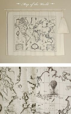 map fabric - DIY throw pillow for the couch