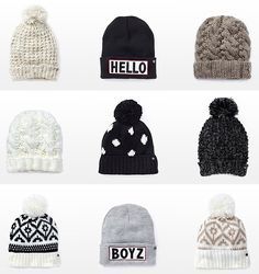 Look at this cool beanies! I think girls looks so cooll when they use beanies?? | See more about Beanie, Winter and Winter Outfits.