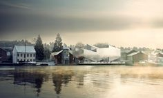 Construction has begun on an aluminium-clad museum in Norway by Danish architecture studios COBE and Transform. The Maritime Museum and Science Centre will be situated beside the river in the harbour town of Porsgrunn. Water Architecture, Architecture Visualization, 3d Visualization, Photoshop Rendering, Unusual Buildings, Maritime Museum, Norway, Trip Advisor, Science
