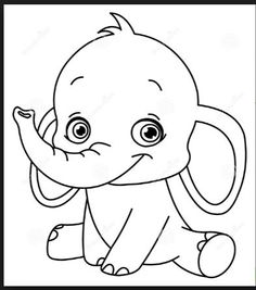 Baby Elephant Clip Art Images on Share Online Toy Story Coloring Pages, Disney Coloring Pages, Coloring For Kids, Coloring Books, Coloring Sheets, Elephant Stencil, Elephant Applique, Elephant Colour, Cute Elephant