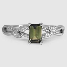 18K White Gold Sapphire Budding Willow Ring // Set with  a 6X4mm Super Premium Green Emerald Cut Sapphire (From Unique Colored Gemstone Gallery) #BrilliantEarth