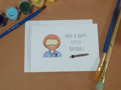 Bob Ross Have a Happy Little Birthday  by wordcraftstudios on Etsy