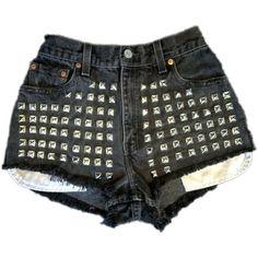 black, Vintage, cutoff, shredded,  destroyed,  grunge, omen eye, short, shorts, studded, distressed, denim, high waisted, cut off