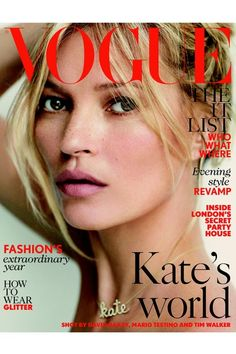 womensweardaily:  Kate Moss' Latest Turn at British  Vogue Photo by Courtesy Alongside appearing on two covers shot by Mario Testino — in one close-up portrait, the model sports a fresh-faced look complete with freckles across her nose, while the other is a soft focus shot with the model in vampy eye makeup — Moss has had a hand in several editorials in the magazine. The model has assembled the men in her life — among them husband Jamie Hince and collaborator Sir Philip Green — who have been…