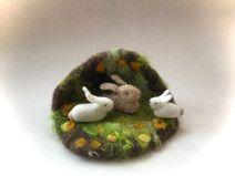 Frühling Höhle Hase Ostern.Jahreszeitentisch.Filz