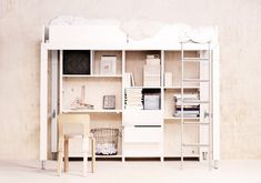 """""""Lundia Lofty"""" multi function bed by Tapio Anttila for Lundia Oy, Finland, maker for 50 years of pine warehouse shelving."""