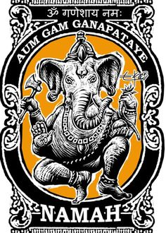 Aum Gam Ganapataye Namah -This is the Ganesha mantra. Ganesha dissolves obstacles to success, and is traditionally invoked at the start of any new project or enterprise. Note: sanskrit at top of image denotes aum ganeshaya namah Sanftes Yoga, Sup Yoga, Yoga Art, Yoga Studio Design, Lord Ganesha, Lord Shiva, Shri Ganesh, Indian Gods, Indian Art