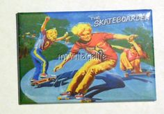 "The SKATEBOARDER Metal LUNCHBOX   2"" x 3"" Fridge MAGNET ART"