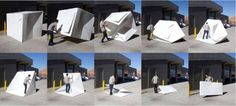 Alastair Pryor's, Compact Shelters, pop up emergency tents, disaster design… Disaster Design, Emergency House, Homeless Housing, Homeless Shelters, Module Design, Portable Shelter, Shelter Design, Dome House, Pop Up Tent