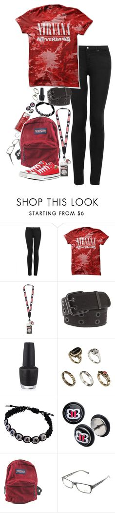 """happy pride month!"" by un-iversal ❤ liked on Polyvore featuring Topshop, Hot Topic, OPI, ASOS, WWE, JanSport, Ray-Ban and Converse"