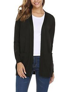 2d5f133372 Women s V Neck Open Front Button Down Knit Cardigan Sweater with Pockets      Check out this great product. (This is an affiliate link)