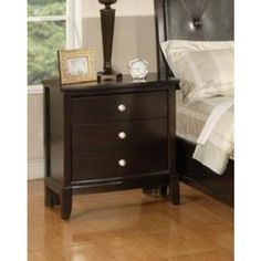 Argein Solid Wood Construction Fully Assembled Night Stand Dark Espresso Finish