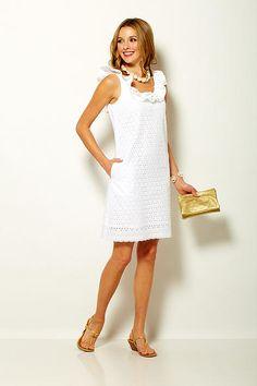 Sara Campbell white eyelet dress with ruffled neck Boston Shopping, White Eyelet Dress, Little White Dresses, Summer 2015, Wedding Bells, Summer Dresses, Clothing, Shoes, Collection