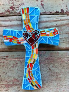 Small Mosaic Cross turquoise with heart by DeniseMosaics on Etsy, $20.00