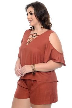 Blusa Plus Size Zenna Plus Size Shirt Dress, Plus Size Jumpsuit, Plus Size Shirts, Plus Size Tops, Chic Outfits, Spring Outfits, Fashion Outfits, Womens Fashion, Western Outfits