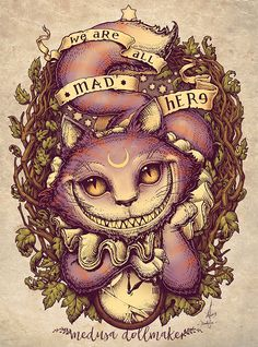 """My take on Lewis Carroll's classic tale """"Alice in Wonderland"""", featuring Cheshire Cat Eng/ WE ARE ALL MAD HERE! Cheshire cat is here! Save the date ----> as . Lewis Carroll, Cheshire Cat Art, Chesire Cat, Cheshire Cat Tattoo, Cheshire Cat Wallpaper, Hippie Kunst, Cat Alice, Tattoo Gato, We All Mad Here"""