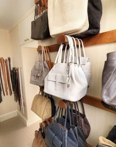 How to store and organise your handbags in your wardrobe - wardrobe decluttering - fashion organisation - wardrobe how to - home ideas - fea...