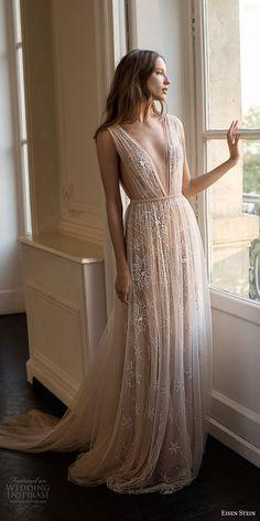 Eisen stein 2018 nupcial profundo sem mangas v pescoço ruched corpete romântico macio uma linha de vestido de noiva aberto v de volta ❤