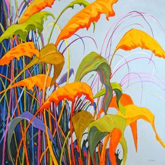 contemporary acrylic painting of ornamental grasses by Carolee Clark