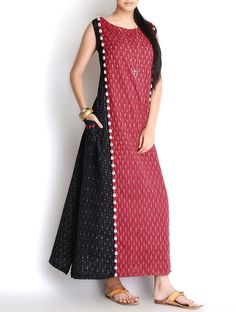 Black-Red Shell Embellished Handloom Ikat Cotton Maxi Dress