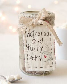 Basket Gifts This simple Mason jar project by Debbie Delaney has all the fixings for hot cocoa, paired with some fuzzy socks. Get the tutorial for making this homemade gift inside A Somerset Holiday. Christmas Store, Christmas Crafts, Christmas Ideas, Holiday Ideas, Diy Craft Projects, Diy Crafts, Handmade Gifts For Friends, Mason Jar Projects, Creative Gift Wrapping