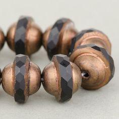Saturn Beads - Saucer Beads - Czech Glass Beads - Jet Opaque with Dark Bronze Matte Finish - 8x10mm #SolanaKaiBeads #CzechGlassBeads @SolanaKaiBeads