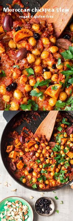 Moroccan chickpea stew Moroccan chickpea stew is an easy, delicious and filling dish that makes an ideal weekday dinner or post-exercise recovery meal. It's vegan and gluten-free. Veggie Dishes, Veggie Recipes, Whole Food Recipes, Vegetarian Recipes, Cooking Recipes, Healthy Recipes, Free Recipes, Vegetarian Cooking, Dinner Recipes