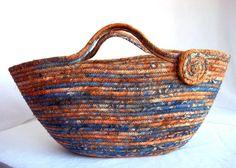Autumn Coiled Basket Handmade Tan Batik Gift