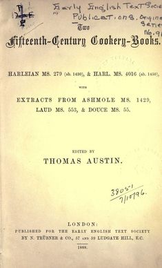 Fifteenth-Century Cookery-Books By Austin Thomas - (1888) - (archive)