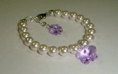 Flower Girl Bracelet - Swarovski Crystal Flower & Pearls with Butterfly Charm - More Colors on Etsy, $18.00