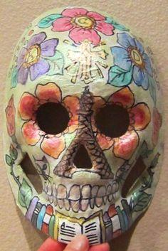 Another view of my aunt's Dia de Los Muertos mask
