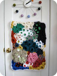 Modern Crochet Fiber Wall Art - Color Explosion Coral Reef - Free Form Crochet, via Etsy.
